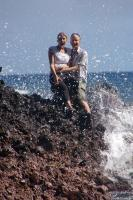 Elliott and Lara after the wave hits