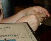 Nina\'s hands, always busy