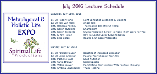 2016 July Metaphysical and Holistic Life EXPO Lecture Schedule2