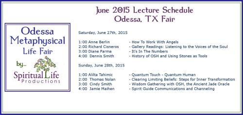 2015 June Odessa Metaphysical Fair Lecture Schedule