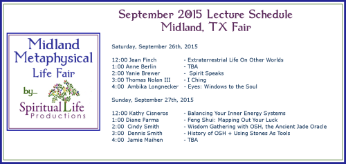 2015 September Midland Metaphysical Fair Lecture Schedule