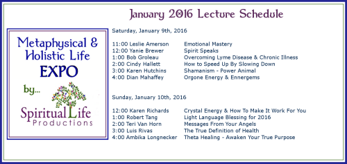 2016 January Metaphysical and Holistic Life EXPO Lecture Schedule