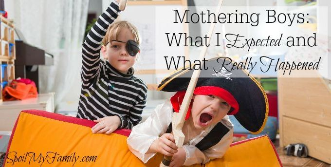 When I found out I was having a boy, a million thoughts ran through my head. What I've learned is that mothering boys isn't everything I was expecting... www.spoilmyfamily.com #motheringboys