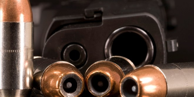 A SIG Sauer P220 45 ACP semiautomatic handgun and four rounds - these are jacketed hollow-point rounds made by Federal.