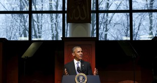 U.S. President Barack Obama delivers remarks at the Islamic Society of Baltimore mosque in Catonsville, Maryland on February 3, 2016. Photo courtesy of REUTERS/Jonathan Ernst *Editors: This photo may only be republished with RNS-OBAMA-MOSQUE, originally transmitted on Feb. 3, 2016.