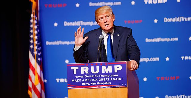 Trump at an early campaign event in New Hampshire on August 19, 2015/Michael Vadon  - Wikipedia