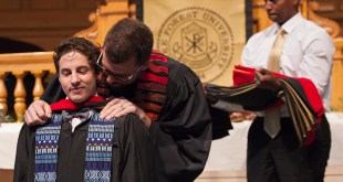 Adam Plant (MDiv '16) receives his Masters' Hood from Rev. Christopher T. Copeland during the Wake Forest University School of Divinity's 2016 Hooding Ceremony on May 14, 2016, in Wait Chapel. Photo courtesy of Red Cardinal Studio, Wake Forest University School of Divinity