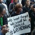 A group of community activists protest over the wrongful death of 28-year-old Sandra Bland following a traffic stop and arrest in Waller County, Texas.