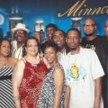 "KMOJ Staff :(l-r, front row) Adonna Swift, Lorna M. Pettis, Nikki Love Dan Speak, and (back row) Ros Bongo Jerie, Ray Seville, Walter ""Q-Bear"" Banks, Jr., Big Sam, Kimuel Hailey, Shed G and DJ Divine"