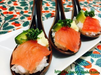 MAGURO with SHISO Leaves, Avocado and Mayo SpoonSushi!5
