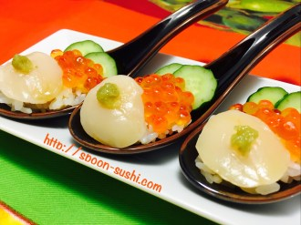 Scallops with IKURA, Cucumber and WASABI SpoonSushi!5