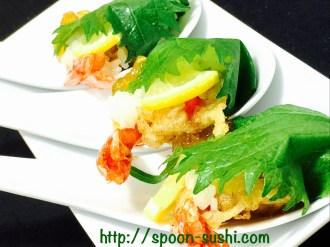 Shrimp TEMPURA with SHISO Leaves, Lemon and Consomme Jelly SpoonSushi!2