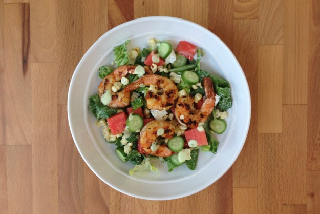 grilled shrimp salad / watermelon, corn & cucumber / green goddess dressing
