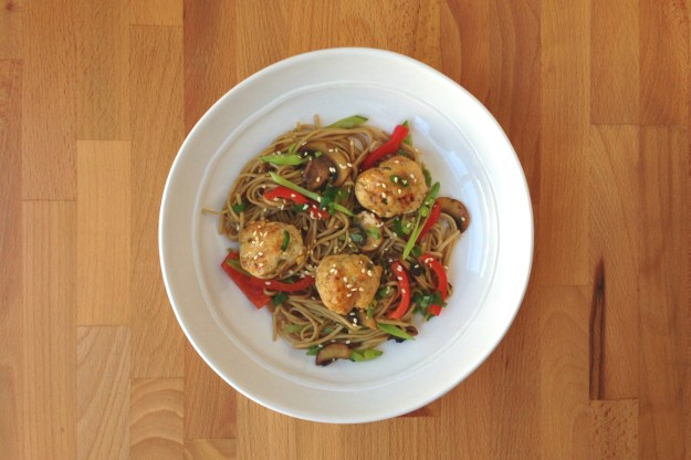 braised asian chicken meatballs / snowpeas & mushrooms / gluten-free noodles