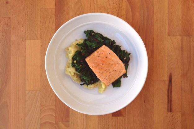roasted salmon / potato & white bean mash topped with sautéed greens