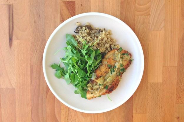 chicken paillard with artichoke-herb sauce / mushroom quinoa