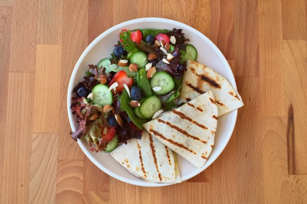 summer salad & grilled mushroom quesadillas