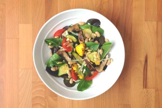 grilled vegetable salad / white beans & manchego / pesto vinaigrette