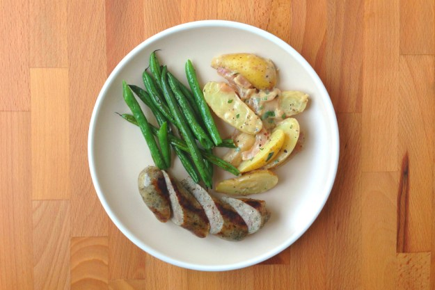 zeigler's kielbasa / roasted green beans / warm potato salad