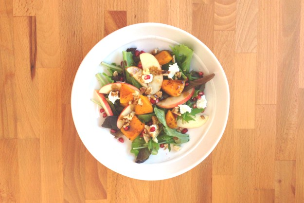roasted butternut squash, apple & pomegranate salad