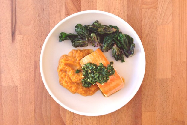 trout with chermoula / sautéed kalettes / butternut mash