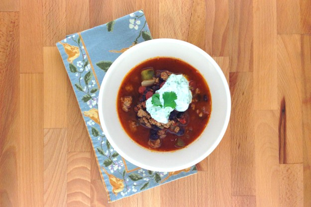 turkey & black bean chili / cilantro-lime yogurt / honey-dijon dressed greens