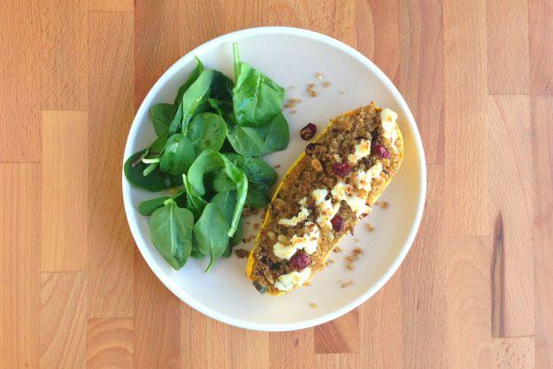 stuffed delicata squash / spinach salad
