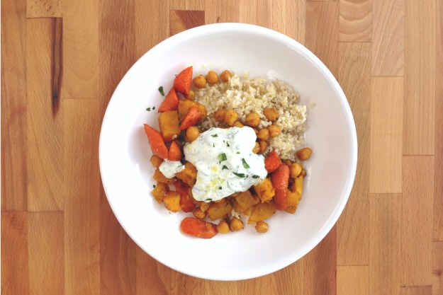 curry-roasted butternut squash & chickpeas / yogurt-cilantro sauce / quinoa