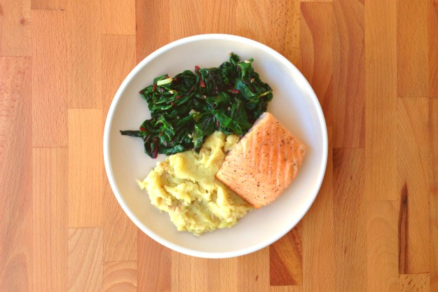 roasted salmon / potato & white bean mash topped with sautéed greens