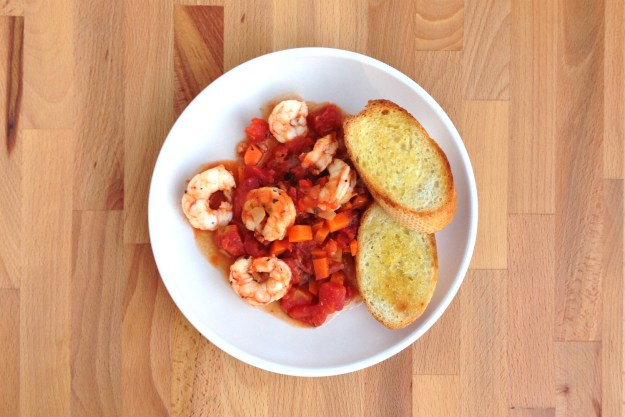 shrimp arrabbiata / garlic crostini / salad with shaved fennel & tuscan vinaigrette