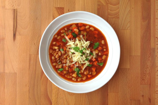 white bean chili with winter vegetables / simple salad