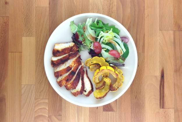 pan-seared chicken / roasted delicata squash / salad with cinnamon vinaigrette