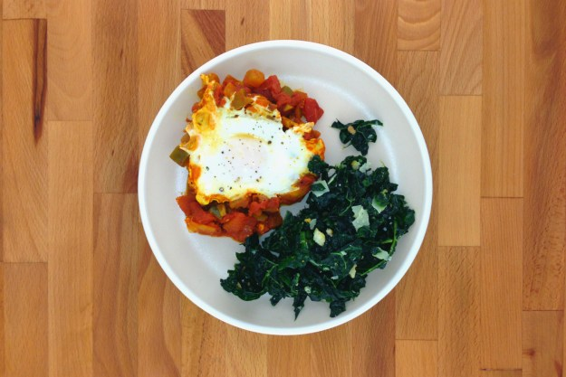 shakshouka / massaged kale salad