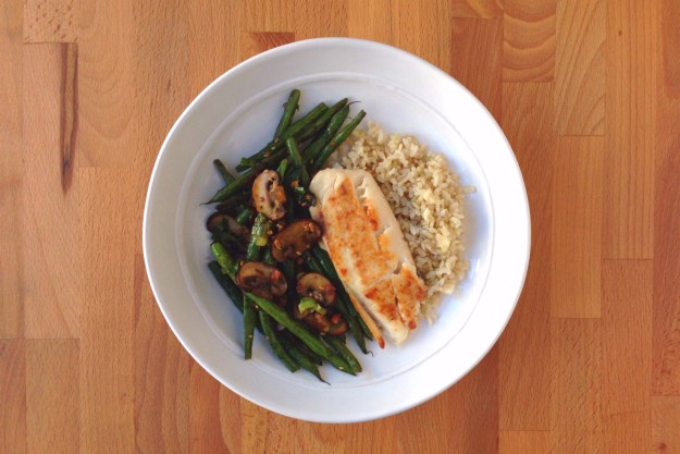 spicy tilapia / korean-style green beans with pancetta / brown rice