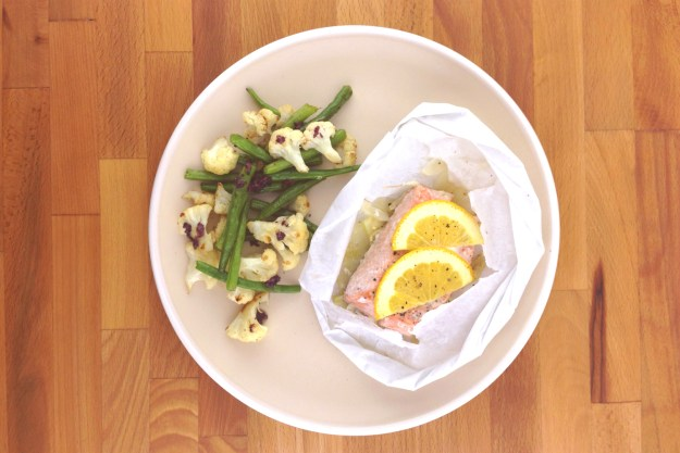 trout papillote with citrus & fennel / green bean & cauliflower sauté