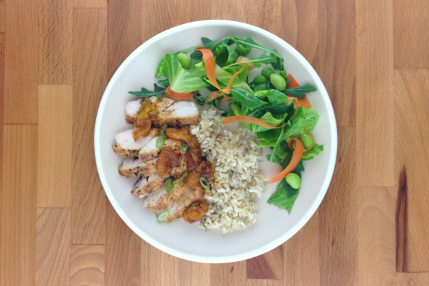 tangerine chicken / brown rice / salad with miso dressing