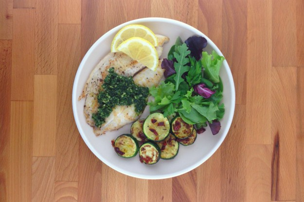 tilapia with parsley pesto / zucchini with sun-dried tomato / herb salad