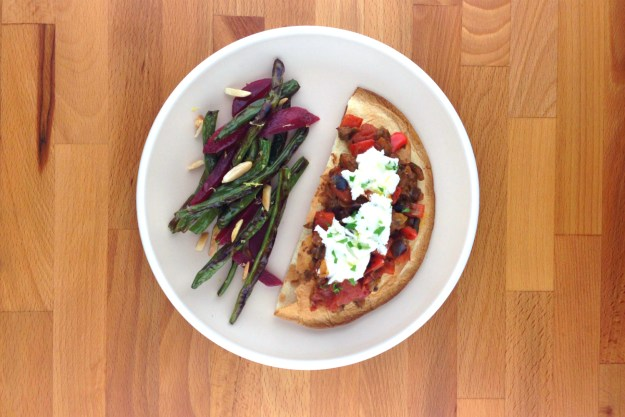 eggplant caponata flatbreads / roasted green bean & beet salad