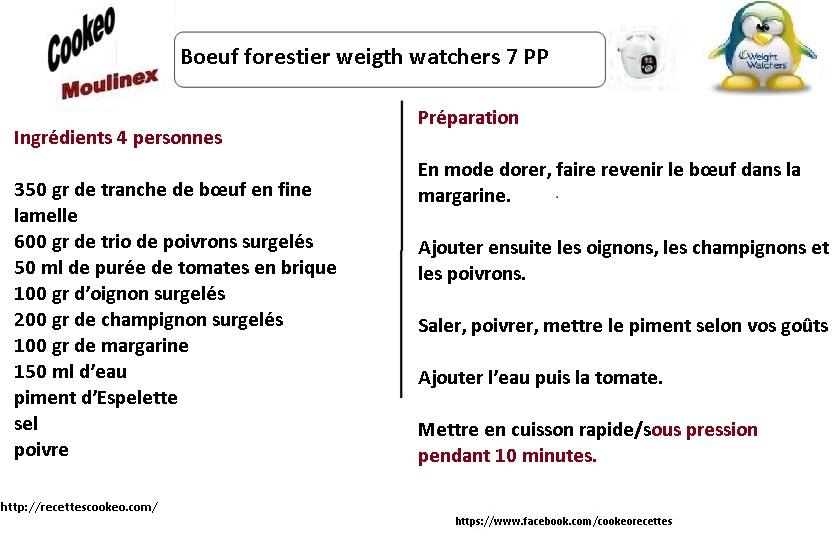 Fiche recette cookeo  boeuf forestier weight watchers