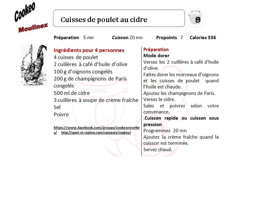 CUISSES DE POULET AU CIDRE