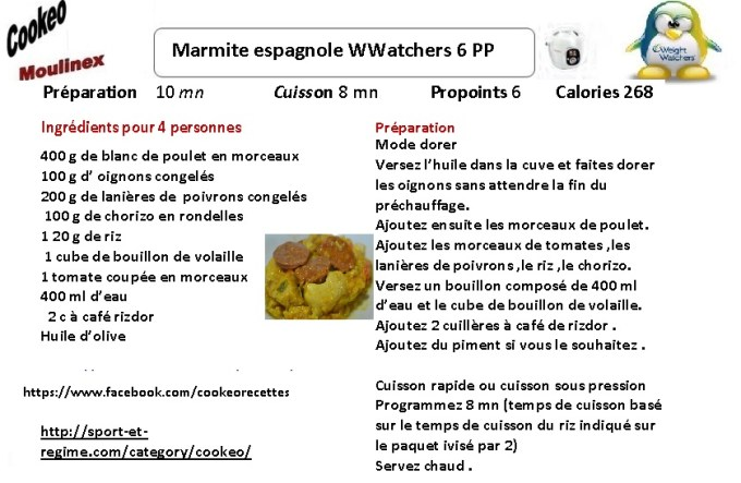 fiche recette cookeo marmite espagnole weight watchers. Black Bedroom Furniture Sets. Home Design Ideas