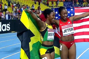 Shelly-Ann Fraser-Pryce, Jamaica, and Carmelita Jeter, USA