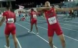 Ryan Bailey cut throat gesture at IAAF World Relays 2015