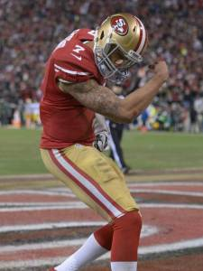 Colin Kaepernick after running for a touchdown