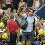 Juan Martin Del Potro (ARG) leaves the court after being defeated by Lleyton Hewitt (AUS) (not pictured) on day five of the 2013 US Open at the Billie Jean King National Tennis Center. Mandatory Credit: Susan Mullane-USA TODAY Sports