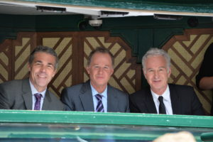 Wimbledon, England - July 4, 2014 - AELTC: (L to R) Chris Fowler, Patrick McEnroe and John McEnroe during the Men's singles semi-final match during the 128th edition of the Wimbledon Championships (Photo by Scott Clarke / ESPN Images)