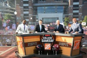 Tuscaloosa, AL - September 19, 2015 - Bryant-Denny Stadium: Desmond Howard, Rece Davis, Lee Corso and Kirk Herbstreit on the set of College GameDay Built by the Home Depot (Photo by Scott Clarke / ESPN Images)