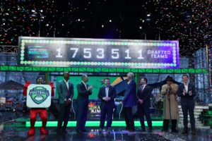 Bristol, CT - August 16, 2016 - Studio W: Fantasy Football mascot (l), Louis Riddick, Matthew Berry, Frank Caliendo, Trey Wingo, Adam Schefter, fake Vince Lombardi and Bobby Flay during the 28-hour ESPN Fantasy Football Marathon presented by Draft Kings in preparation for the 2016 NFL season (Photo by Allen Kee / ESPN Images)