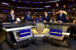 Chicago, IL - November 17, 2015 - United Center: Rece Davis, Joey Galloway, David Pollack and Kirk Herbstreit on the set of College Football Playoffs Top 25 (Photo by Phil Ellsworth / ESPN Images)