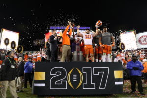 Tampa, FL - January 9, 2017 - Raymond James Stadium: Coach Dabo Swinney and Ben Boulware (10) of the Clemson University Tigers during the 2017 CFP National Championship Game Presented by AT&T (Photo by Allen Kee / ESPN Images)